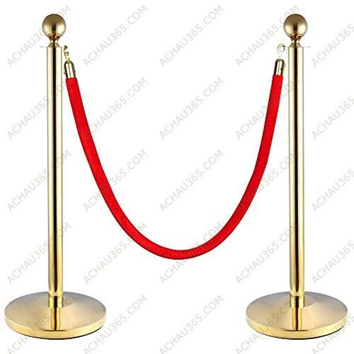Cột chắn inox phân làn trang trí xi mạ vàng dây nhung đỏ