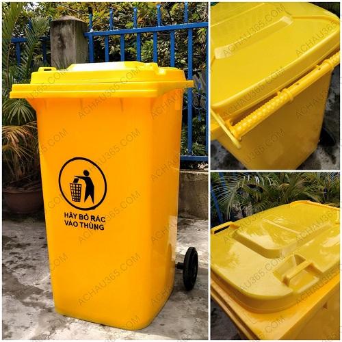 Thùng rác nhựa HDPE nắp kín màu vàng 240L