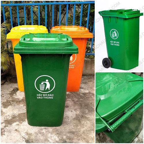 Thùng rác nhựa nắp kín màu xanh 240L