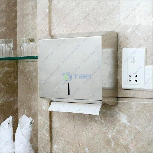 Hộp đựng khăn giấy lau tay treo tường inox vuông trong nhà tắm toilet vệ sinh