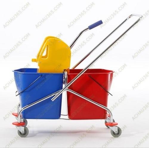 Xe đẩy vắt và ep nước cây lau sàn nhà 2 ngăn hay còn gọi là xe vắt mop đôi