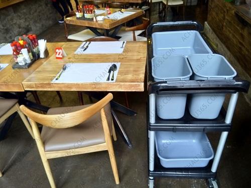 Xe đẩy dọn bàn ăn & thu gom bát đĩa cao cấp ba tầng