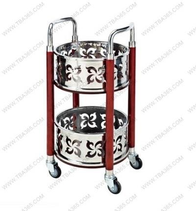 Xe đẩy phục vụ rượu trà hai tầng hình trụ tròn