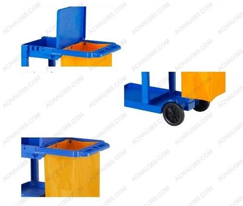 Xe dọn vệ sinh đa năng ba tầng chữ L màu xanh