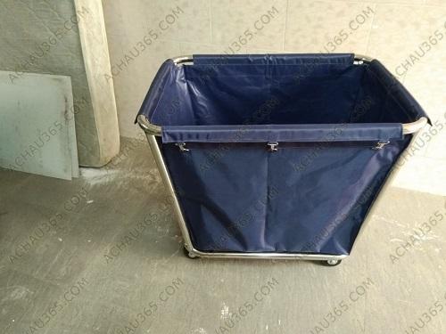 Xe thu gom đồ giặt ủi khung inox túi vải bạt